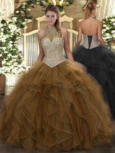 Designer Brown Ball Gowns Tulle Halter Top Sleeveless Beading and Ruffles Floor Length Lace Up Quinceanera Gowns