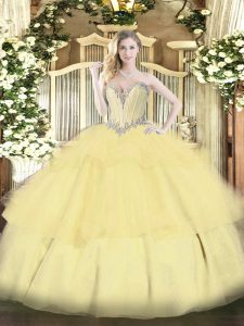 Edgy Gold 15 Quinceanera Dress Military Ball and Sweet 16 and Quinceanera with Beading and Ruffled Layers Sweetheart Sleeveless Lace Up