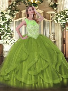 Olive Green Tulle Lace Up Scoop Sleeveless Floor Length Quinceanera Gown Beading and Ruffles