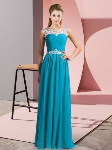 Inexpensive Teal Sleeveless Floor Length Beading Clasp Handle
