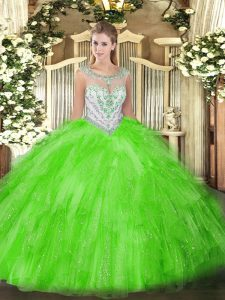 Tulle Zipper Quinceanera Dresses Sleeveless Floor Length Beading and Ruffles