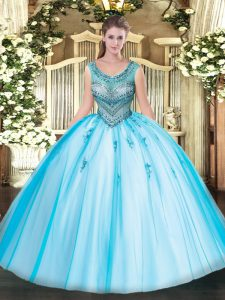 High Class Scoop Sleeveless Quinceanera Gown Floor Length Beading and Appliques Baby Blue Tulle