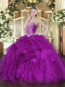 Dynamic Sleeveless Floor Length Beading and Ruffles Lace Up 15th Birthday Dress with Purple