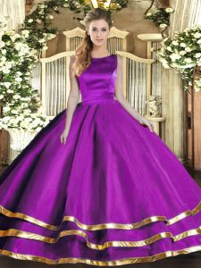 Eggplant Purple Ball Gowns Scoop Sleeveless Tulle Floor Length Lace Up Ruffled Layers Sweet 16 Quinceanera Dress