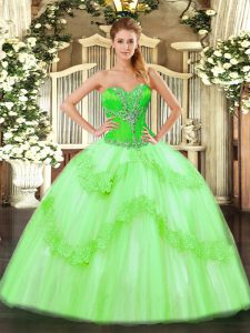 Flare Tulle Lace Up Sweetheart Sleeveless Floor Length Quinceanera Dress Beading and Ruffles