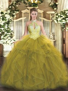 Floor Length Lace Up Quinceanera Gown Olive Green for Military Ball and Sweet 16 and Quinceanera with Beading and Ruffles