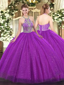 Tulle Sleeveless Floor Length 15th Birthday Dress and Beading