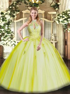 Amazing Yellow Green Sleeveless Tulle Lace Up 15 Quinceanera Dress for Military Ball and Sweet 16 and Quinceanera