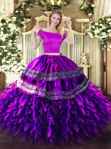 Sumptuous Floor Length Zipper 15th Birthday Dress Eggplant Purple for Military Ball and Sweet 16 and Quinceanera with Embroidery and Ruffles
