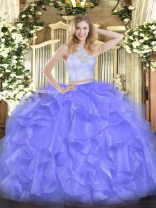 Flare Lavender Scoop Neckline Lace and Ruffles Sweet 16 Dress Sleeveless Zipper