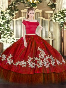 Captivating Embroidery Sweet 16 Dress Wine Red Zipper Short Sleeves Floor Length