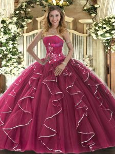 Cheap Floor Length Ball Gowns Sleeveless Fuchsia Sweet 16 Dress Lace Up