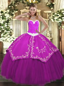 Attractive Fuchsia Lace Up Sweetheart Appliques and Embroidery Quinceanera Gowns Organza and Taffeta Sleeveless