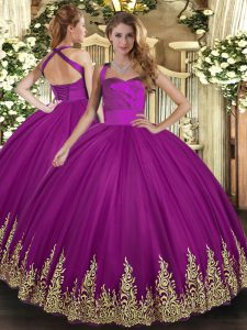 Floor Length Fuchsia Quinceanera Dresses Tulle Sleeveless Appliques