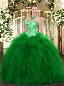 Green Vestidos de Quinceanera Military Ball and Sweet 16 and Quinceanera with Appliques and Ruffles Sweetheart Sleeveless Lace Up
