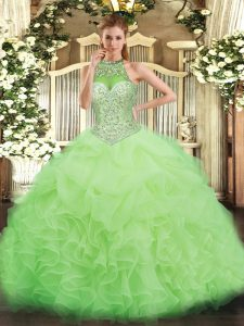 Yellow Green Halter Top Neckline Beading and Ruffles and Pick Ups Vestidos de Quinceanera Sleeveless Lace Up