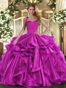 Fantastic Fuchsia Lace Up Quinceanera Dresses Ruffles Sleeveless Floor Length