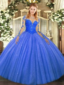 Floor Length Blue 15 Quinceanera Dress Scoop Long Sleeves Lace Up