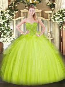 Yellow Green Ball Gowns Sweetheart Sleeveless Tulle Asymmetrical Lace Up Lace Vestidos de Quinceanera