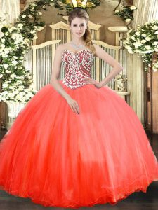 Low Price Floor Length Lace Up Sweet 16 Quinceanera Dress Coral Red for Military Ball and Sweet 16 and Quinceanera with Beading