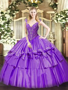 Sleeveless Organza and Taffeta Floor Length Lace Up Sweet 16 Dresses in Lavender with Beading and Ruffled Layers