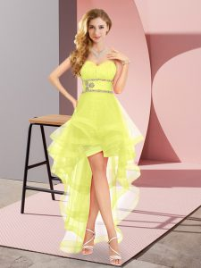 Yellow Sweetheart Neckline Beading Sleeveless Lace Up