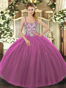 High Class Floor Length Purple Quinceanera Gown Tulle Sleeveless Beading and Appliques