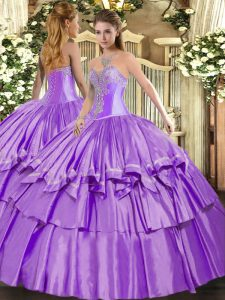 Admirable Lavender Ball Gowns Organza and Taffeta Sweetheart Sleeveless Beading and Ruffled Layers Floor Length Lace Up Ball Gown Prom Dress