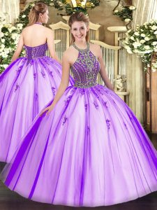 High Quality Eggplant Purple Sleeveless Floor Length Beading Lace Up Vestidos de Quinceanera