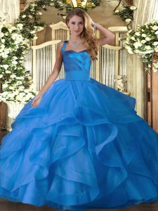 Blue Ball Gowns Ruffles 15 Quinceanera Dress Lace Up Tulle Sleeveless Floor Length