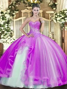 Most Popular Sweetheart Sleeveless Sweet 16 Dresses Floor Length Beading and Ruffles Lilac Tulle