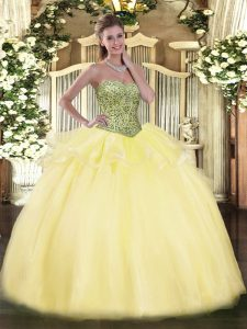 Pretty Light Yellow Sleeveless Floor Length Beading and Ruffles Lace Up Quinceanera Gown