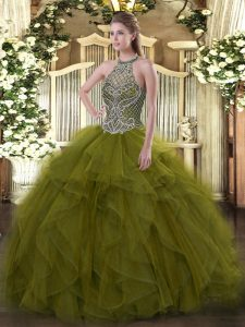 Sleeveless Organza Floor Length Lace Up Ball Gown Prom Dress in Olive Green with Beading