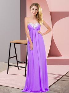 Lavender Empire Sweetheart Sleeveless Chiffon Floor Length Lace Up Ruching Prom Evening Gown