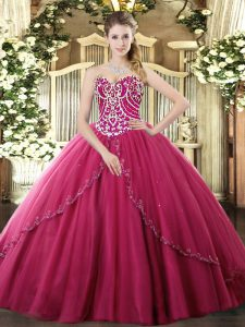 Ball Gowns Sleeveless Hot Pink Quinceanera Dress Brush Train Lace Up