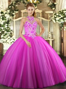 Free and Easy Tulle Halter Top Sleeveless Lace Up Embroidery Ball Gown Prom Dress in Fuchsia