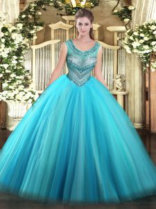 New Arrival Scoop Sleeveless Lace Up Quinceanera Gown Baby Blue Tulle
