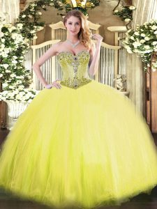 Dynamic Yellow Tulle Lace Up Quinceanera Dress Sleeveless Floor Length Beading