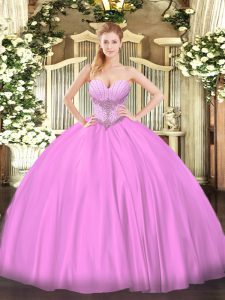 Perfect Lilac Sleeveless Beading Floor Length Quinceanera Gowns