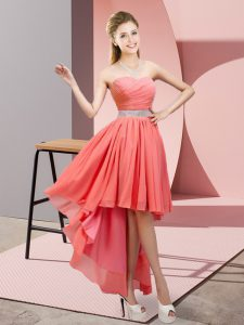 Superior Beading Prom Dresses Watermelon Red Lace Up Sleeveless High Low