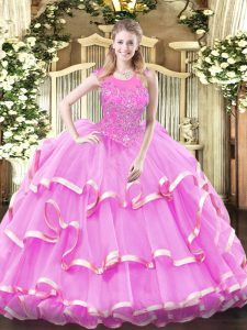 Fine Lilac Scoop Zipper Beading and Ruffled Layers 15 Quinceanera Dress Sleeveless