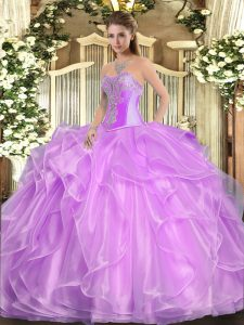 Wonderful Lilac Sleeveless Organza Lace Up Ball Gown Prom Dress for Military Ball and Sweet 16 and Quinceanera