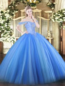 Most Popular Baby Blue Ball Gowns Off The Shoulder Sleeveless Tulle Floor Length Lace Up Beading Quinceanera Dresses