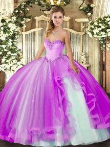 Lilac Tulle Lace Up Sweetheart Sleeveless Floor Length Quince Ball Gowns Beading and Ruffles