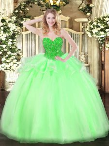 Enchanting Sleeveless Floor Length Beading Lace Up Quinceanera Gown with