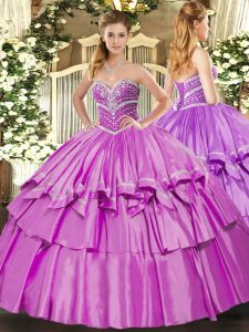 Floor Length Lilac 15th Birthday Dress Organza and Taffeta Sleeveless Beading and Ruffled Layers