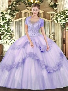 Edgy Lavender Ball Gowns Scoop Sleeveless Tulle Floor Length Clasp Handle Beading and Appliques Sweet 16 Dresses
