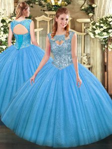 Wonderful Baby Blue Ball Gowns Beading Sweet 16 Dresses Lace Up Tulle Sleeveless Floor Length