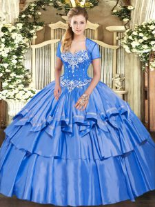 Baby Blue Lace Up Sweetheart Beading and Ruffled Layers Sweet 16 Quinceanera Dress Organza and Taffeta Sleeveless