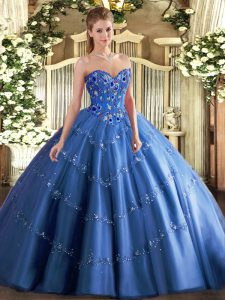 Floor Length Ball Gowns Sleeveless Blue Quinceanera Dresses Lace Up